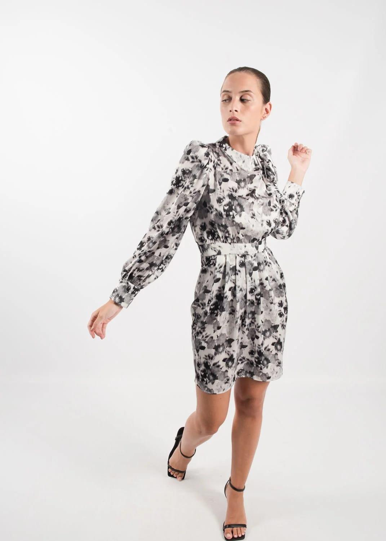 vestido de raso estampado en Pasodoble Palencia