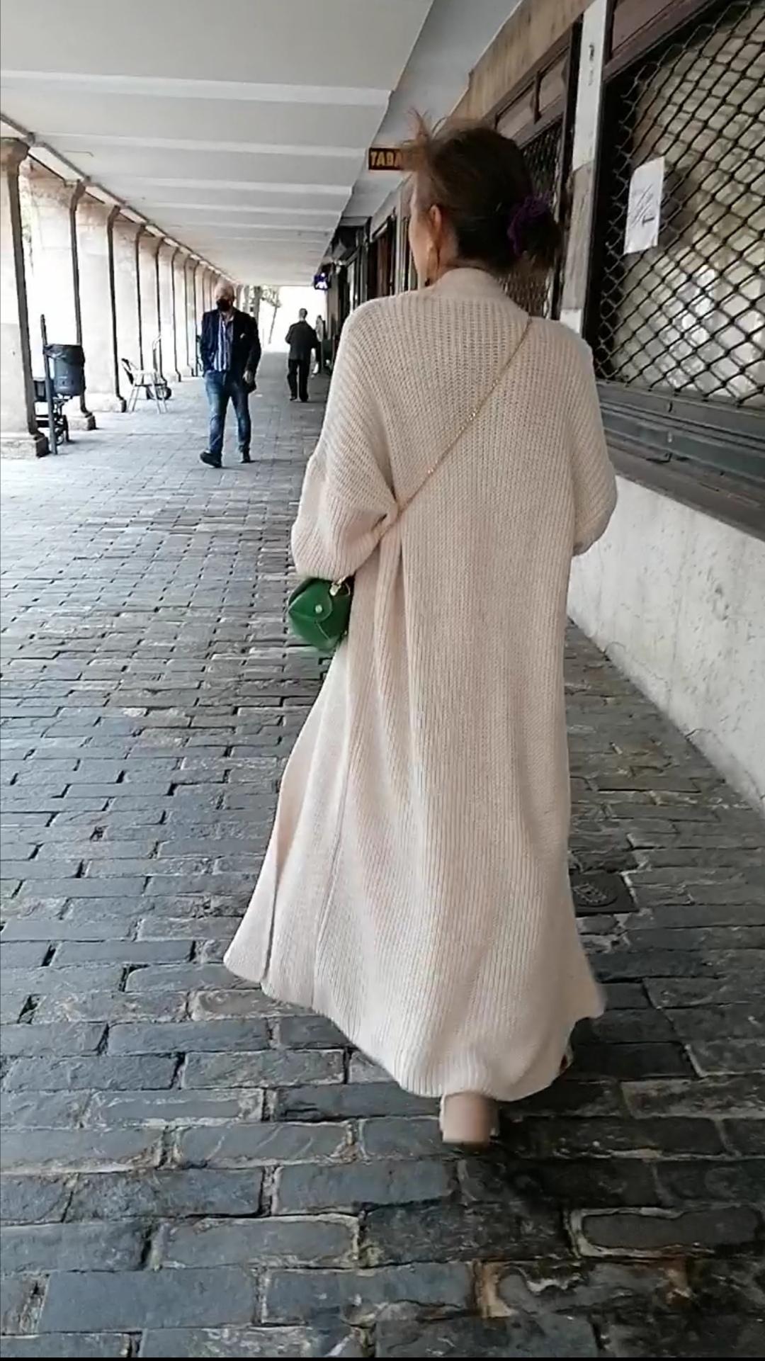 Maxi chaqueta en punto