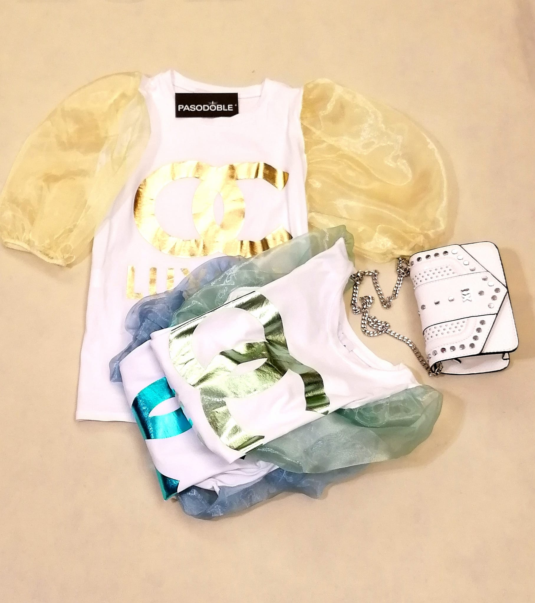 Camiseta algodón y licra con mangas abullonadas en Pasodoble Palencia