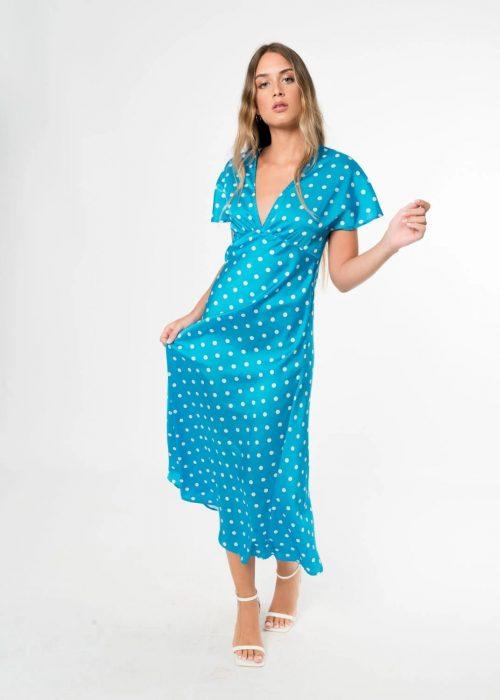 Vestido azul con lunares blancos de Pasodoble en Palencia